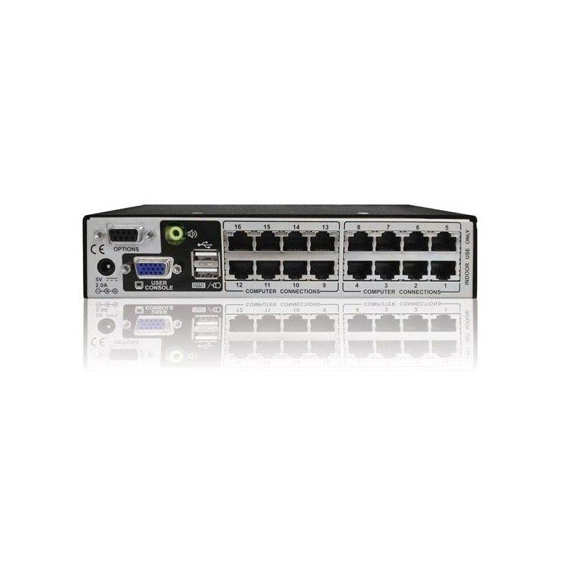Commutateur KVM 1 utilisateur 16 ports audio USB PS2