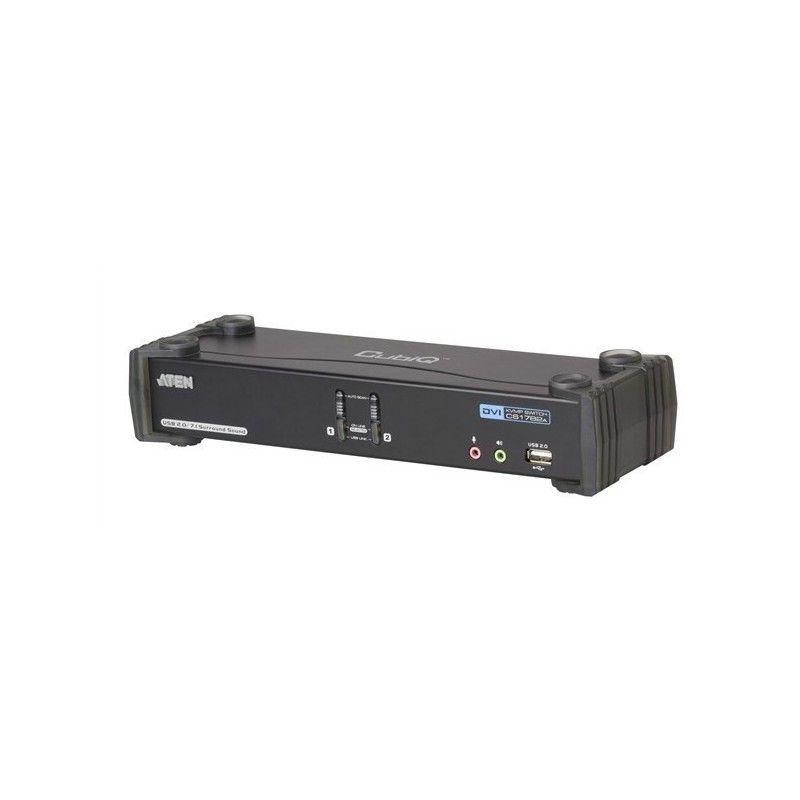 Switch KVM 2 Ports USB 2.0 DVI avec 7.1 Audio . Supportant le 3D