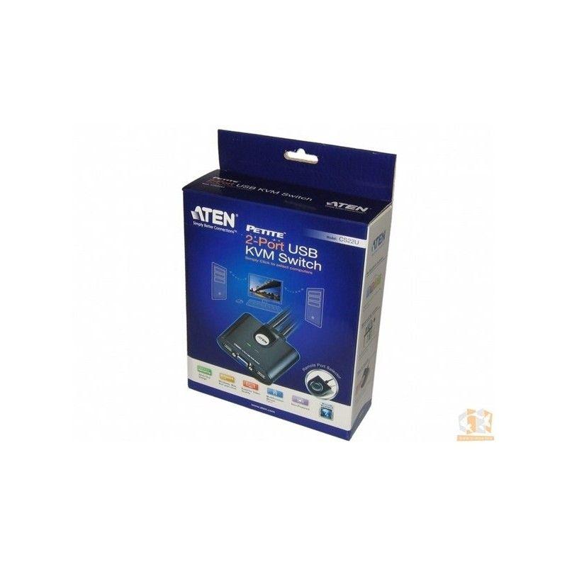 mini switch kvm 2/1 auto - usb/vga + cables + remote control
