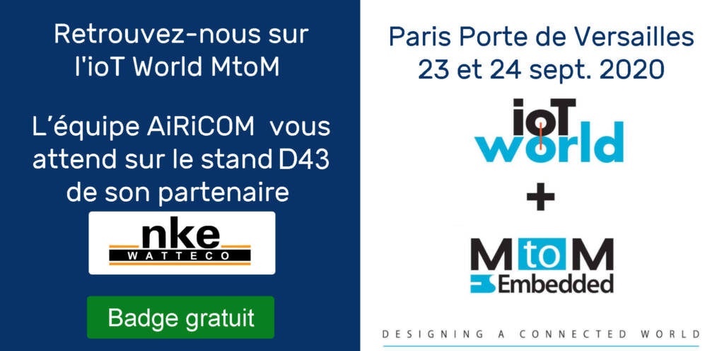 Airicom sur l'IoT world MtoM à Paris en 2020