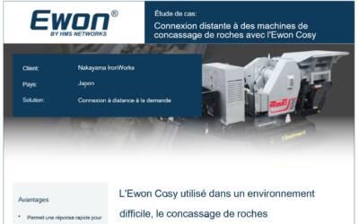 Connexion à des machines industrielles de concassage de roches pour la maintenance à distance avec l'Ewon Cosy