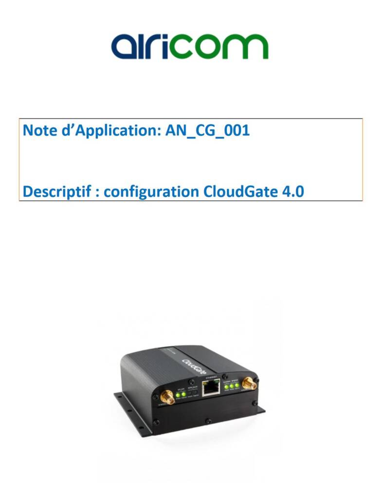 Note d'applications Cloudgate 4.0 Configuration