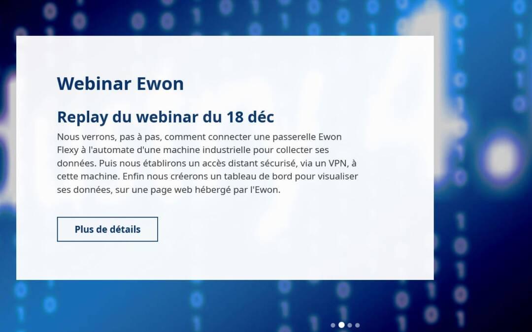 Ewon Flexy : Replay du webinar du 18 déc 2020 – création d'un accès distant à une machine et visualisation des données