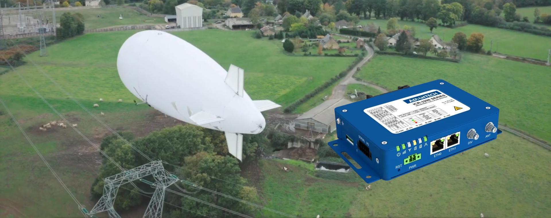 Routeur Advantech installé dans un drone dirigeable